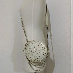 White leather cross-body purse by Betsey Johnson